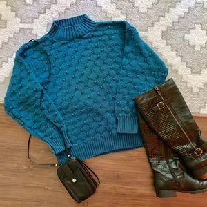 Vintage Bedford Fair Blue Turtleneck Sweater M/L